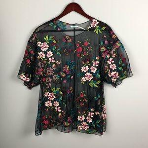 Kimchi Blue Black Floral Embroidered Mesh Top